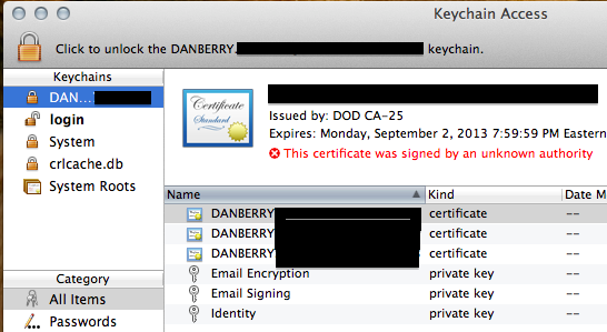 Image showing login section of Keychain
